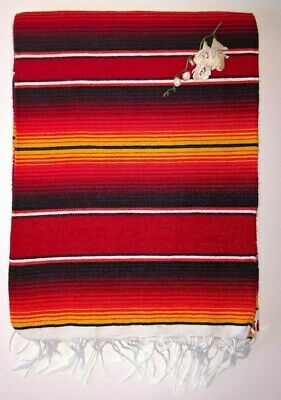 £23.02 • Buy Mexican Serape Hot Rod Red Yellow And Black Stripe Blanket With White Fringe XL