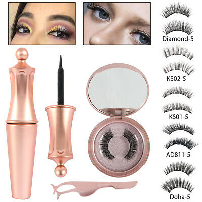 AU14.45 • Buy Magnetic Eyelashes NEW 5 False Eye Lashes Extension Liquid Eyeliner And Tweezer