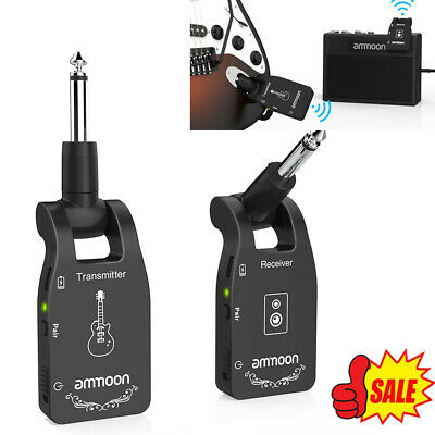 Ammoon Wireless Guitar System 2.4G 6CH Audio Transmitter Receiver Rechargeable • 33.99£