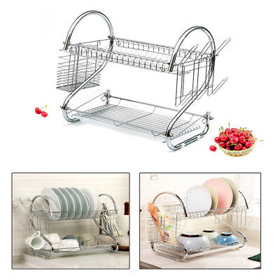 AU21.99 • Buy 2Tier Dish Rack Drainer Drying Tray Cutlery Holder Utensil Caddy Stainless Steel