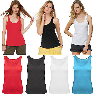 £5.99 • Buy Pack Of 2 Ladies Cotton Vest Women Plain Summer Stretchy Casual Tank Top T Shirt