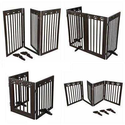 £74.47 • Buy Folding Pet Gate Fence Free Standing Baby Child Safety Indoor Wooden Durable UK