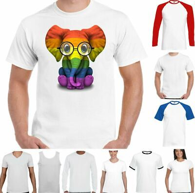 $15.12 • Buy LGBT T-Shirt Elephant Gay Pride Rainbow Colours Tee Outfit Clothing Lesbian Top