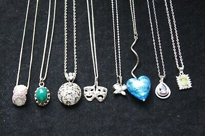 $ CDN58.69 • Buy Lot Of Vintage To Now Sterling Silver 925 Pendants Necklaces Rhinestones Dangle
