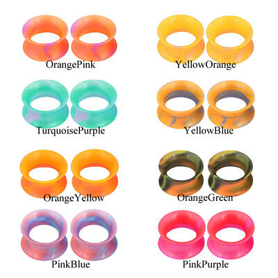 $4.99 • Buy Pair Thin Silicone Ear Plugs Tunnels Soft Ear Gauges Flexible Earlets 2g-3/4''