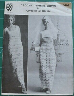 Crochet Bridal Gown Wedding Dress Original Vintage Pattern Twilleys 1002 • 3.99£