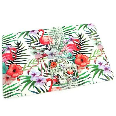 Set 6 Tropical Flowers & Flamingos PVC Vinyl Table Mats & Coasters BBQ Outdoor • 3.99£