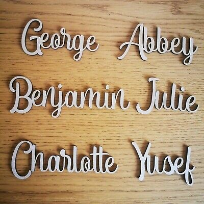 £3.20 • Buy Personalised Script Child's Names, Letters  Words Wedding, Art Wooden MDF Craft