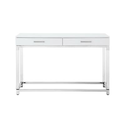 $470.45 • Buy Briar High Gloss Console Table Acrylic Legs And Metal Base White/Chrome