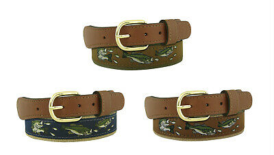 $22.99 • Buy Zep Pro Leather Canvas Ribbon Belt LARGE MOUTH BASS Fish Brown Navy Olive  32-54