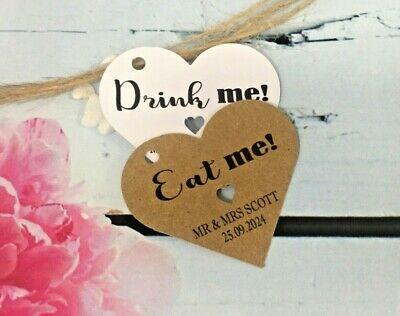 £2.40 • Buy Personalised Heart Drink Me Eat Me Tag Birthday Christmas Wedding Thank You DH1
