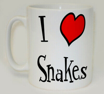 I Heart Snakes Mug Can Personalise Funny Love Animal Lover Reptile Pet Gift Cup • 9.99£