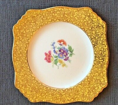 $ CDN12 • Buy Royal Winton/ Grimwades Dinner Plate Gold Flowers On Edge Gold Trim W Flowers