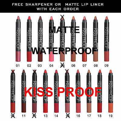 Matte Waterproof Kiss Water Proof Lipstick Crayon Coral Nude Red Menow+FREE GIFT • 1.99£