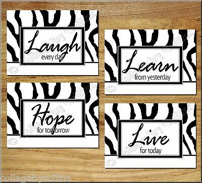 $18.89 • Buy  Black White Zebra Wall Art Picture Prints Decor Inspirational Quote Live Learn+