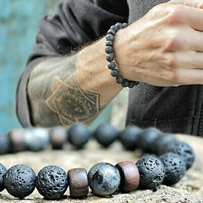 $4.64 • Buy Men Women Natural Stone 8mm Lava Rock Bracelet Elastic Yoga Beads Bracelet Gift