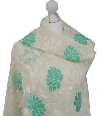 £34 • Buy UK Winter Hand Embroidered Shawl Scarf Hijab Ivory Indian Kashmir Wool Gifts New