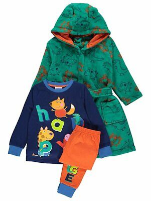 Boys Peppa Pig George Pig Pyjamas And Dressing Gown 3-piece Set Size 1-5 Years • 24.99£