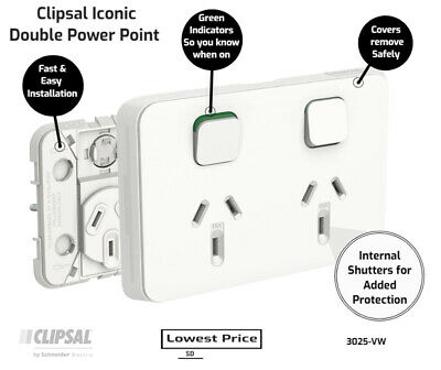 AU7.36 • Buy Clipsal By Schneider Electric  Clipsal Iconic 3025-VW | Double Power Point GPO 1