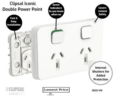 AU7.36 • Buy Clipsal By Schneider Electric  Clipsal Iconic 3025VW | Double Power Point GPO 10