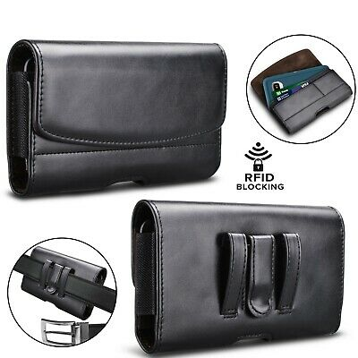 £7.20 • Buy RFID Blocking Horizontal Leather Phone Belt Holster Pouch Card Case Cover Holder