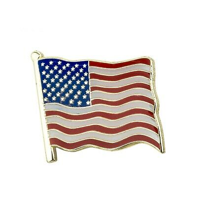 Usa United States America Stars And Stripes Country Wavy Flag Enamel Pin Badge 2 • 1.99£