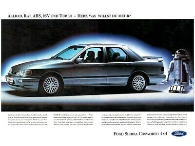 FORD SIERRA RS COSWORTH 4X4 SAPPHIRE RETRO POSTER PRINT CLASSIC 90's ADVERT A3!! • 5.95£
