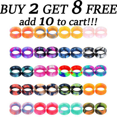 $4.59 • Buy 2PCS Colorful Thin Silicone Ear Gauges Soft Ear Plugs Ear Skins Tunnels Earrings