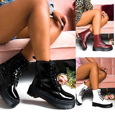 £17.95 • Buy Ladies Womens Ankle Lace Up Platform Chunky Goth Punk Zip Icon Retro Shoes Boots