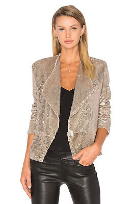 $ CDN496.22 • Buy Iro Chill Sequin Drape Front Blazer | Jacket In Gold 36 Fits 4