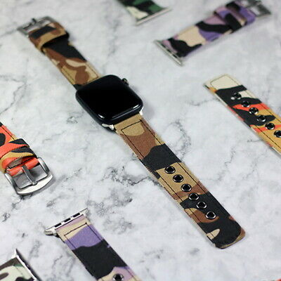 $ CDN11.52 • Buy For Apple Watch Series 1 2 3 4 5 Camouflage Color Fabric Canvas Sport Band Strap