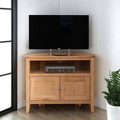 £249.99 • Buy Small Oak Corner TV Stand   Media Cabinet   Entertainment Table  Solid Wood Unit