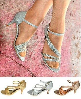 £23.99 • Buy Ladies Strappy Med Comfy Heel Party Sandals Sparkly Shimmer Evening Shoes Size