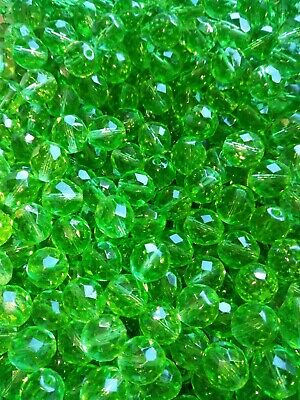 AU2.20 • Buy 30x Large Round Faceted Glass Czech Beads Green Peridot 10mm (jb2000)