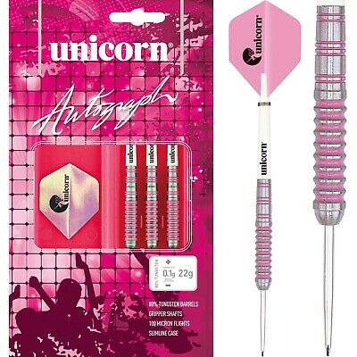 Unicorn Autograph Ladies Darts Set 22g 24g 26g 28g Grams Tungsten Pink Ringed • 23.49£