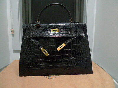 AU17000 • Buy Vintage Hermes Kelly 35cm Black Porosus Crocodile In Gold Hardware With CITES