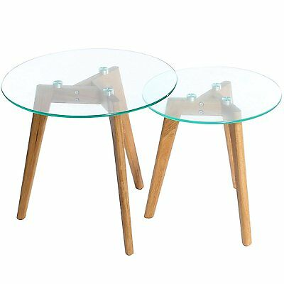 Nest Of Tables 2 Round Coffee Side End Solid Oak Wood Legs Glass Furniture Pair • 54.99£
