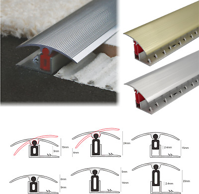 Aluminium Door Threshold Bar Trim  Adjustable Height/Pivots Easy Clip Carpet • 9.99£