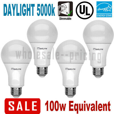 $10.99 • Buy 4 100W Replacement 15W LED Light Bulb Daylight 5000K A19 E26 Base Dimmable 1600L
