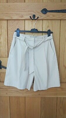 New Ladies Beige Safari Culotte Shorts With Belt Size 8 Small M & S Rrp £25 • 7£