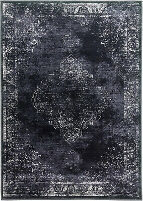 £79.95 • Buy Charcoal Rug Traditional Distressed Vintage Classic Faded Design Black Grey
