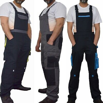 Bib And Brace Overalls Heavy Duty Work Trousers Dungarees Knee Pad Pockets UK • 21.99£