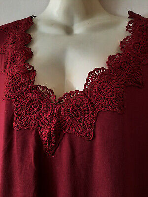 £12.99 • Buy REDUCED/TK MAX- Plus Size 2x Top/Burgundy/lace