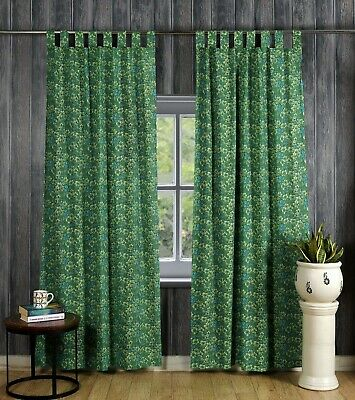 Indian Floral Print Curtain Tab Top Tapestry Curtains Window Bohemian Valance • 24.99£