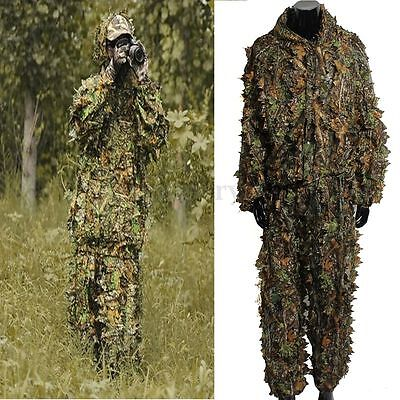 Camping Camouflage Suit Ghillie Leaf 3D Jungle Forest Hunting Hiking Clothes Set • 15.99£