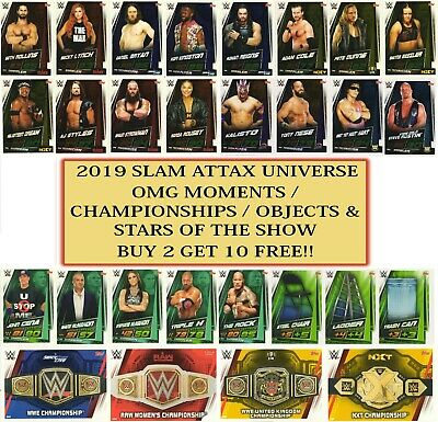 2019 WWE Slam Attax UNIVERSE - Championships Stars Objects OMG Moments • 0.99£
