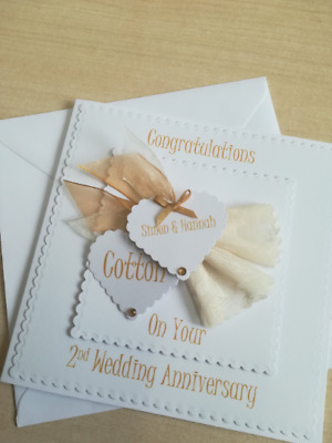WA002. Hand Made And Personalised. 2nd Wedding Anniversary Card. Cotton Annivers • 4.95£