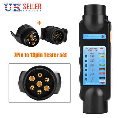 12v 7 & 13 Pin Car & Trailer Towing Lights Plug & Socket Cable Wiring Tester • 12.99£