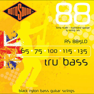 $ CDN50.07 • Buy Rotosound RS885LD Black Nylon Flatwound 5-Str. Bass Guitar Strings 65-135