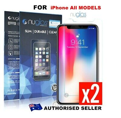 AU4.50 • Buy 2 X Nuglas Tempered Glass Screen Protector For IPhone XS Max X 8 7 6 5 4 6S Plus